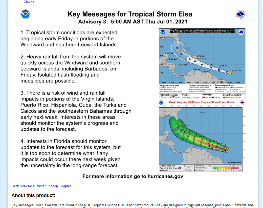 Tropical Storm Elsa Update Thursday July 1st 9:15 AM !!